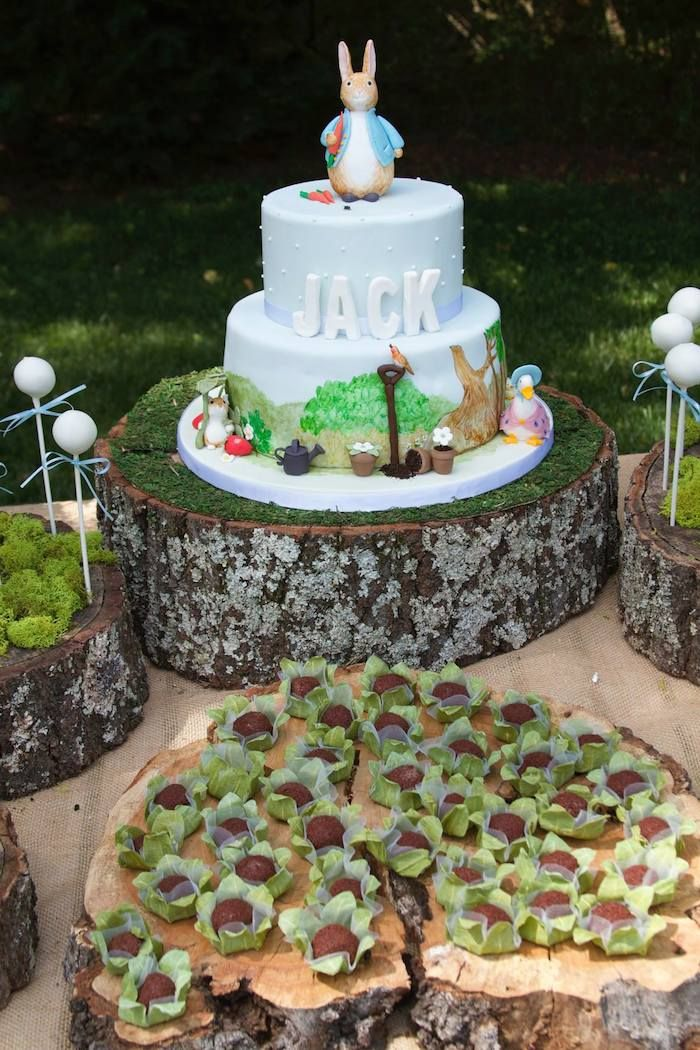Peter Rabbit themed 1st birthday party via Kara's Party Ideas KarasPartyIdeas.com Printables, tutorials, cake, decor, cupcakes, recipes, favors, etc! #peterrabbit #peterrabbitparty #beatrixpotter (4)