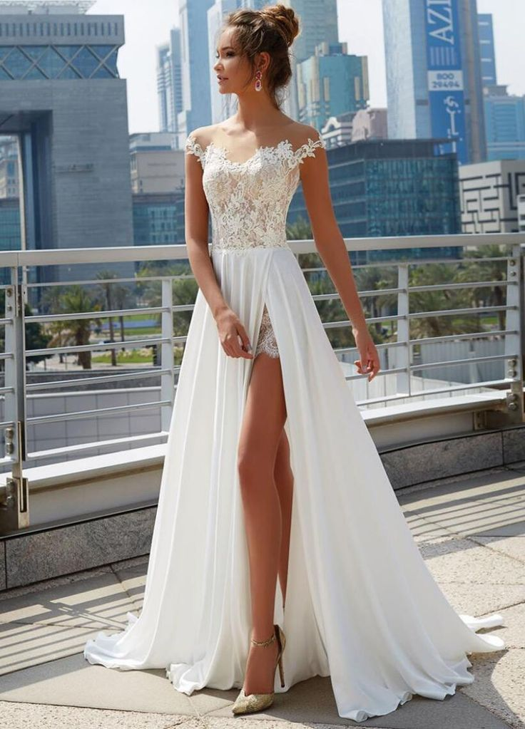 cf6668bbec9fae Cheap Off Shoulder See Through Cheap Wedding Dresses Online, Side Slit  A-line Bridal Dresses, WD444 #wedding #weddingdresses #bridal  #cheapweddingdresses ...