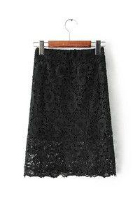 Черная кружевная юбка с резинкой на талии