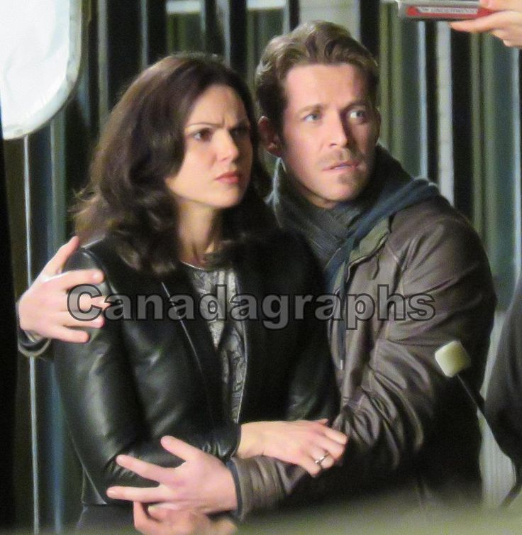 Lana Parrilla and Sean Maguire shoot a scene for the ...