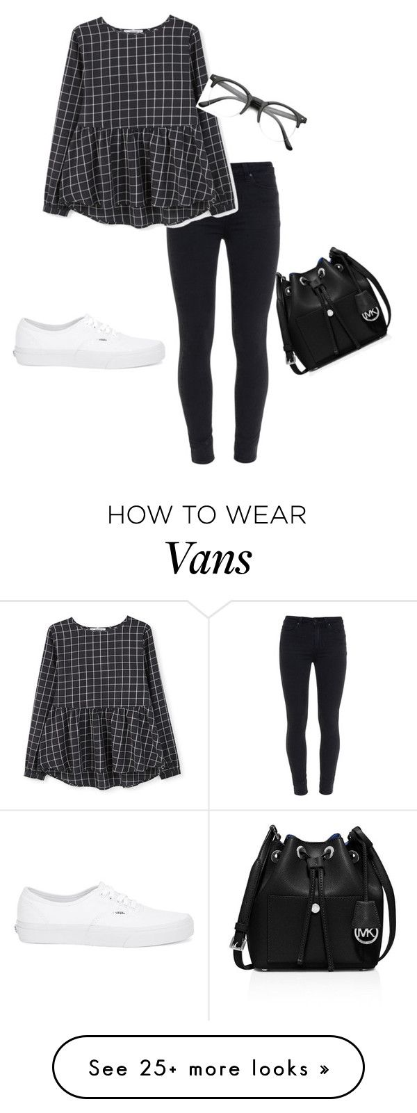 """""""Check Pattern Blouse"""" by aishaamin25 on Polyvore featuring Paige Denim, MANGO, Vans, MICHAEL Michael Kors, women's clothing, women's fashion, women, female, woman and misses"""