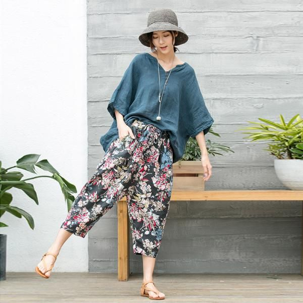 Vintage Flowers Prints Wide Leg Pants Linen Summer Loose Trousers    #vintage #prints #loose #wideleg #trousers #pants #summer #linen #woman