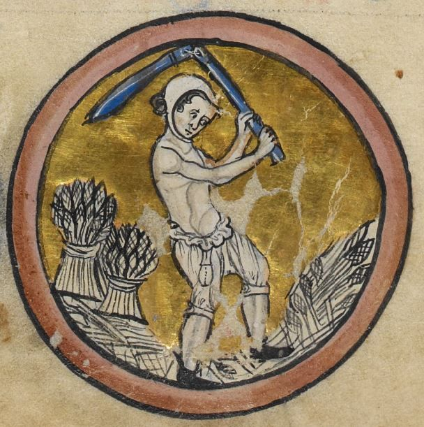 "Detail from ""The Rutland Psalter"", medieval (c1260), British Library Add MS 62925. f 5r"