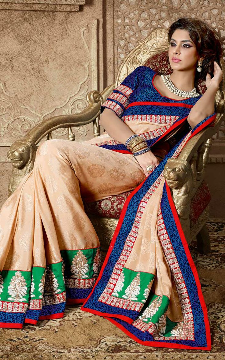 FAWN CREPE SILK EMBROIDERED SAREE - DIFF 28332
