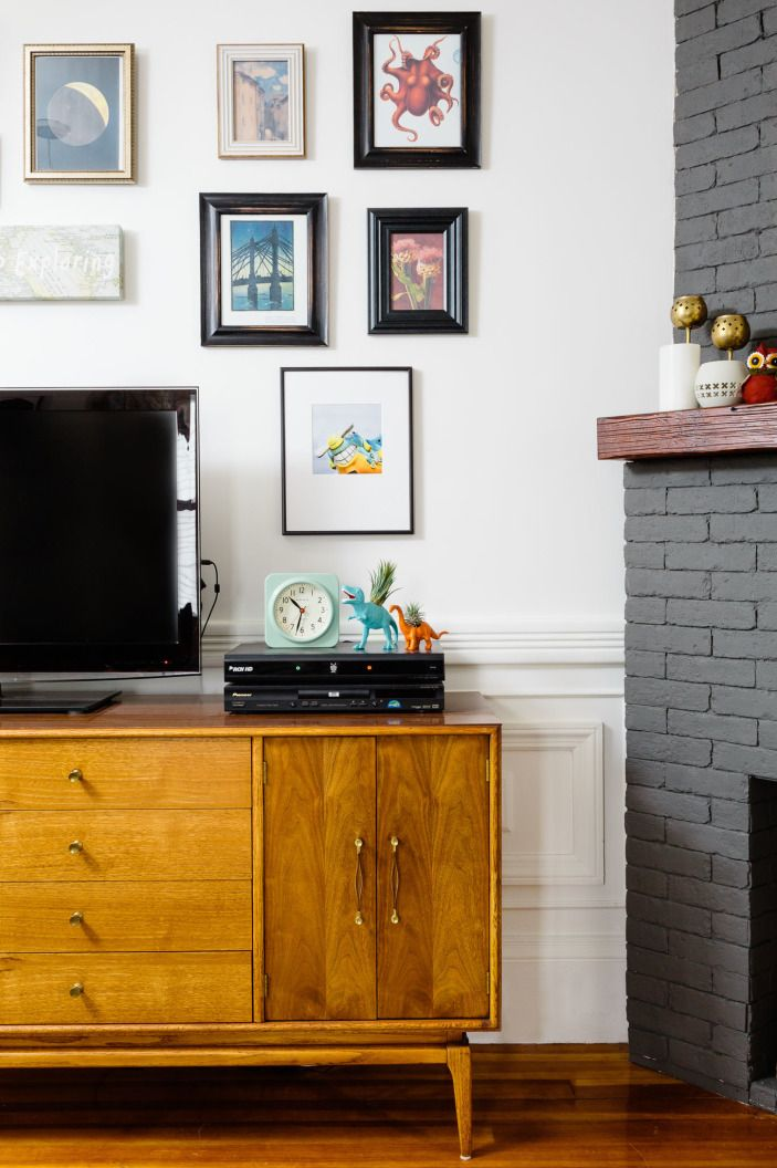 Gallery wall behind tv |  shannon tate interiors