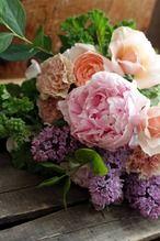 母の日*芍薬と薔薇とライラックのブーケ・PETIT