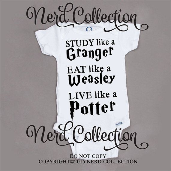 Baby Onesie Hogwarts Harry Potter Granger Weasley Study Eat Live Baby Shower Gift Nursery Funny Humerious Custom Clothing Infant Gerber by NerdCollection via Etsy.com