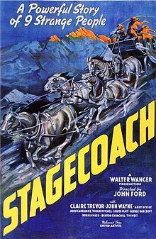"Stagecoach is a 1939 American Western film directed by John Ford, starring Claire Trevor and John Wayne in his breakthrough role. The screenplay, written by Dudley Nichols and Ben Hecht, is an adaptation of ""The Stage to Lordsburg"", a 1937 short story by Ernest Haycox. The film follows a group of strangers riding on a stagecoach through dangerous Apache territory."
