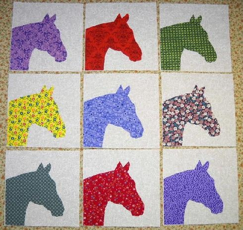 Set of 9 Bright Horse Quilt Blocks....... Might Have To Think About Using This Idea For My New Quilt!