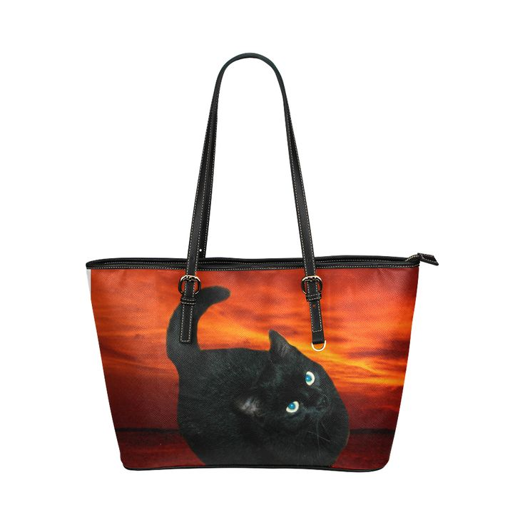 Black Cat Leather Tote Bag/Large (Model 1651)