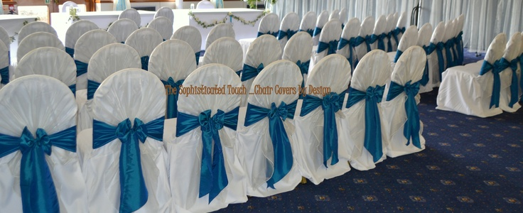 Ivory Organza Shawls and Teal Satin Bows on White Chair Covers The Sophisticated Touch ...Chair Covers by Design