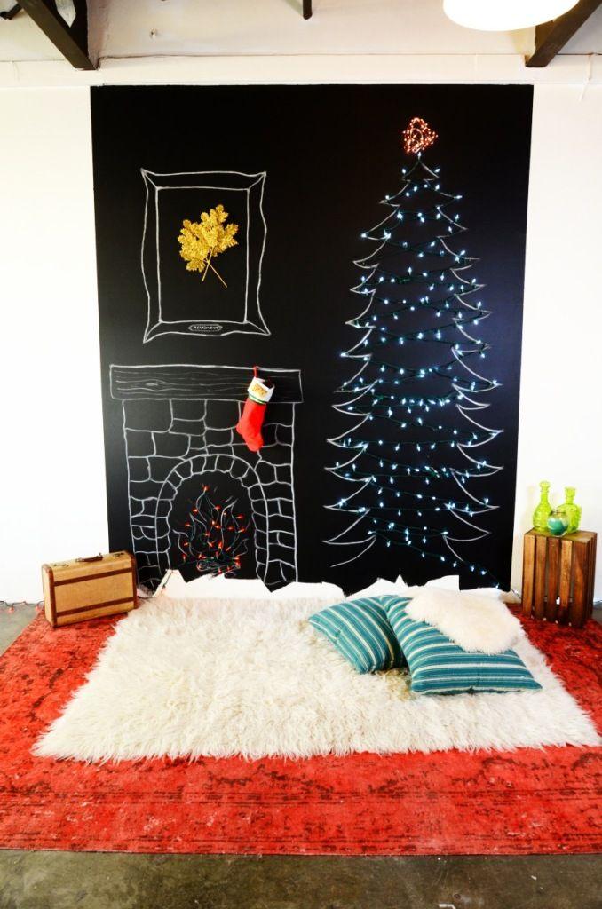 Árbol de Navidad plano en la pared