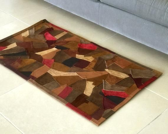 Patchwork Leather Rug Unique Rug Small Leather Carpet Handmade Etsy In 2020 Patchwork Leather Rugs Carpet Handmade Leather Rug