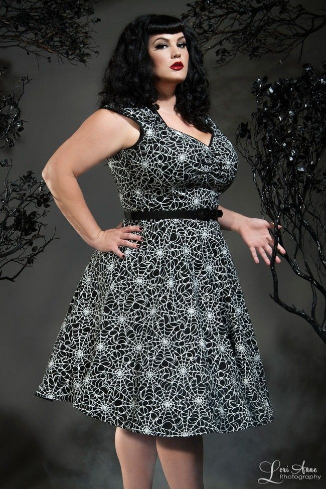 Vintage Goth Pinup Capsule Collection - Heidi Dress in Spiderweb Print - Plus Size