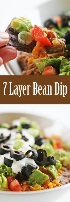 7-layer bean dip with hot refried beans, topped with cheddar cheese, chilies, tomatoes, avocados, sour cream, and sliced black olives. Perfect for a party! On SimplyRecipes.com #FourthOfJuly