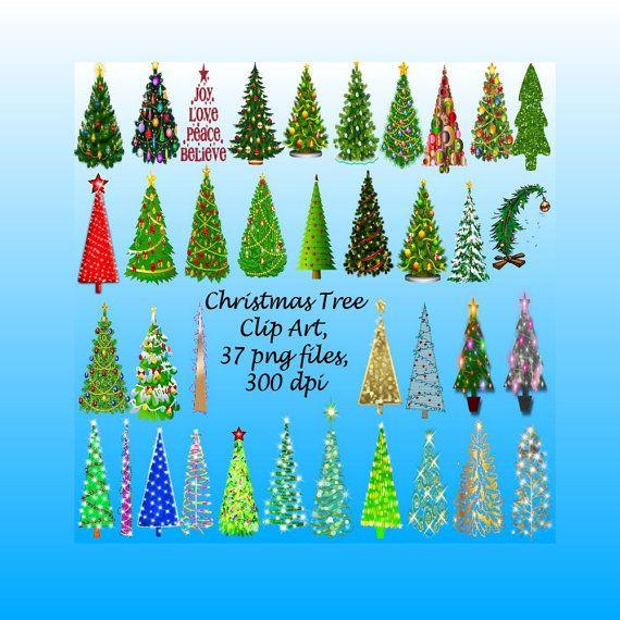Natale decorato alberi Clip Art, 37 file png, 300 dpi, Bokeh, luci, Glitter, ornamenti, decorazioni di Natale, Card Making, CUOK