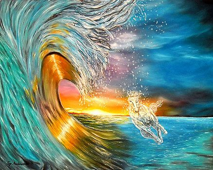 Waves, painting, ocean,scene,seascape,sunset,sunrise,surf,nature,horse,whimsical,beautiful,images,colorful,multicolor,blue,gold,golden,bright,impressive,contemporary,modern,wall,art,awesome,cool,artwork,for,sale,home,office,decor,running,light,crystal,big,high,sea,water,rough,wild,crashing,breaking,oil painting,items,ideas, fine art america