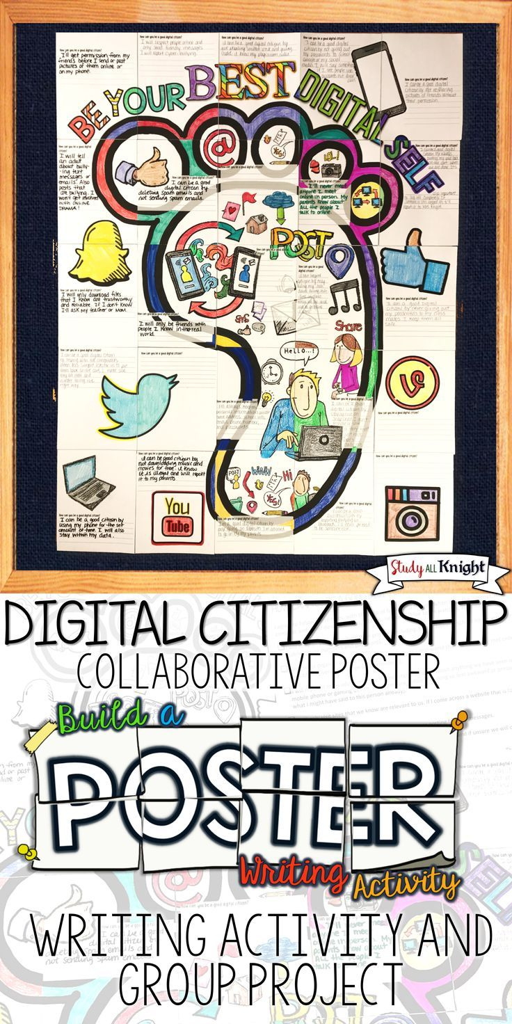 "Digital Citizenship writing activity poster - Promote how to be a good digital citizen in your classroom. The collaborative poster comes with a discussion handout for, ""how can you be a good digital citizen?"" The poster features social media, downloading files, posting messages and pictures, using apps, publishing content, cyber bullying, writing prompt and brain friendly fun. Students collaborate to assemble the poster ($)"
