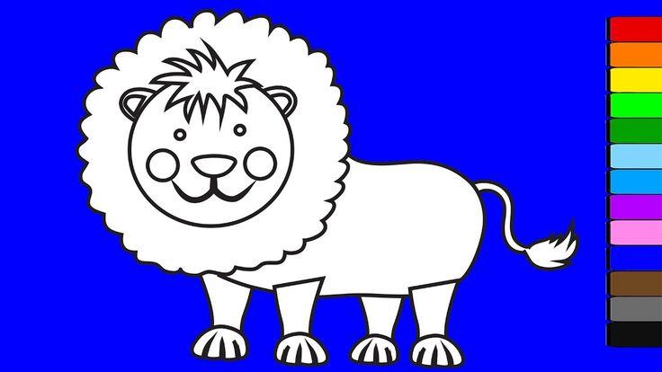 Learn colors for kids with animals | Lion coloring pages | Coloring vide...