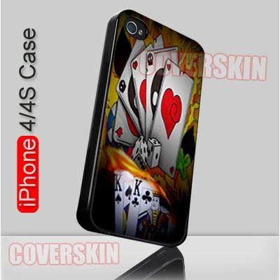 Poker Flames Casinon iPhone 4 or 4S Case Cover - 1