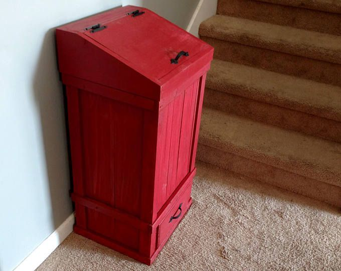 13 Gallon French Country Primitive Red Trash Can With A