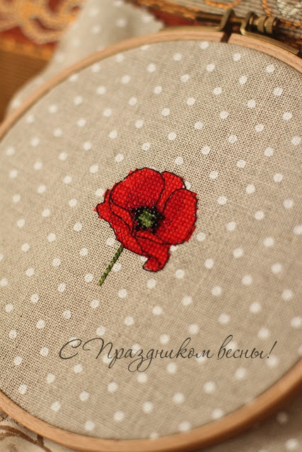poppy cross stitch - no pattern but I just think this is so pretty with the polka-dots