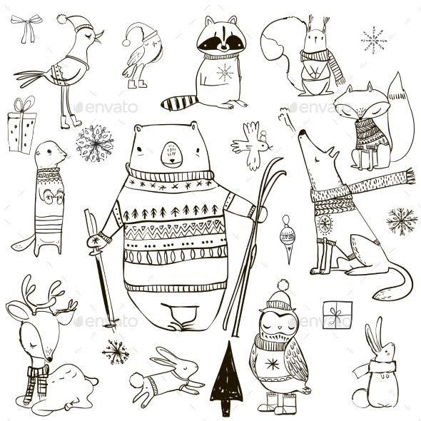 Set with Winter Animals – Christmas Seasons/Holida…