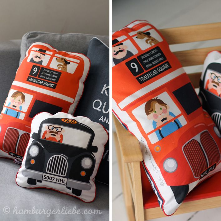 Fun London bus and taxi design cushions pinned by www.pikeletworkshop.com
