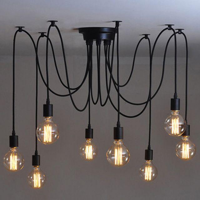 Ретро лофт паук подвесные светильники регулируемая старинные подвесные светильники промышленного потолочный лампы luminaria-де-меса эдисон abajur