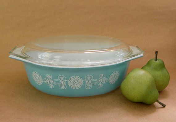 Promotional Pyrex Lace Medallion Turquoise Casserole by FlyOn, $40.00