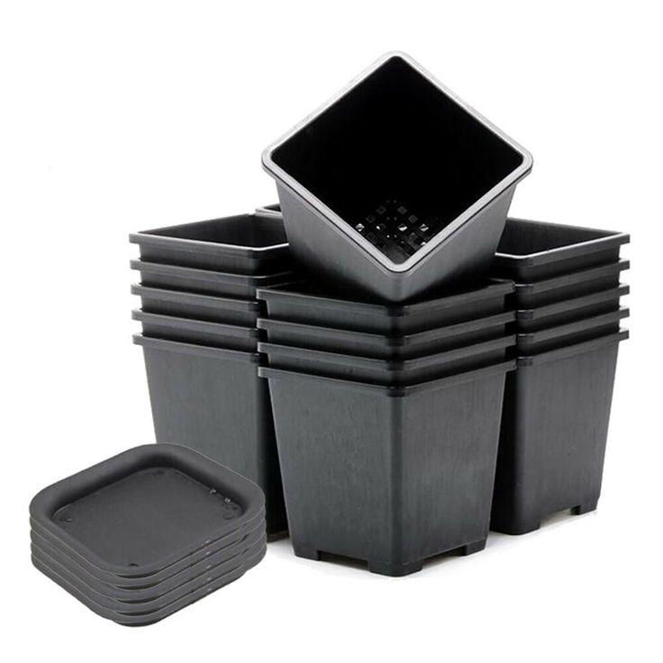 square flower pots plastic
