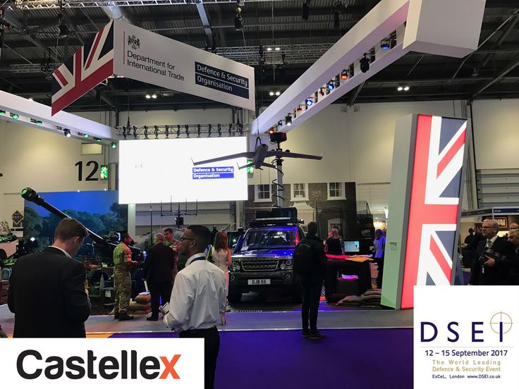 Castellex teem at security show DSEi London Exel 2017 shopping for latest military technologies in industry for doomsday-bunkers nuclear-shelters survival-shelters NBC-air-filtration CBRN-air-filtration fallout-shelters nuclear-bunkers