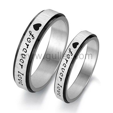 Personalized Forever Love Titanium Promise Rings Set For 2