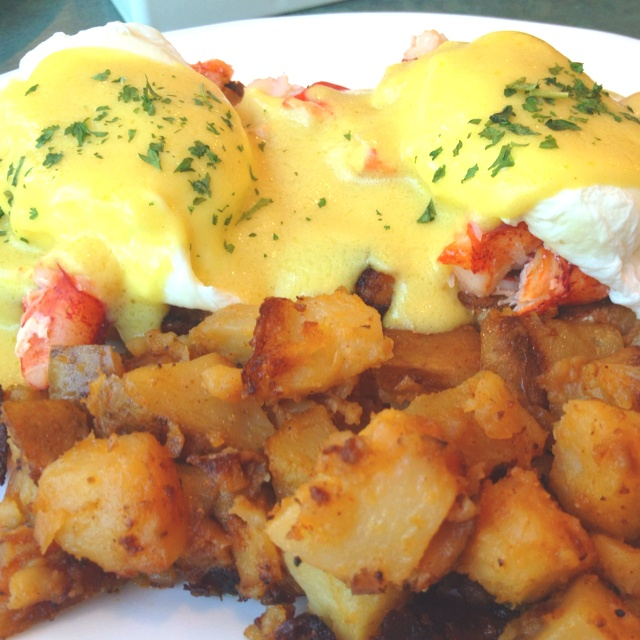 Lobster eggs benedict! @ The Egg & I in Maine.