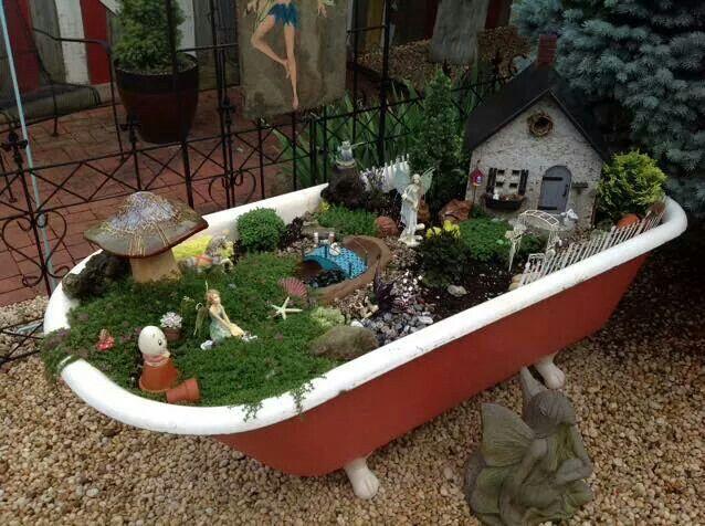 Clawfoot Bathtub Fairy Garden
