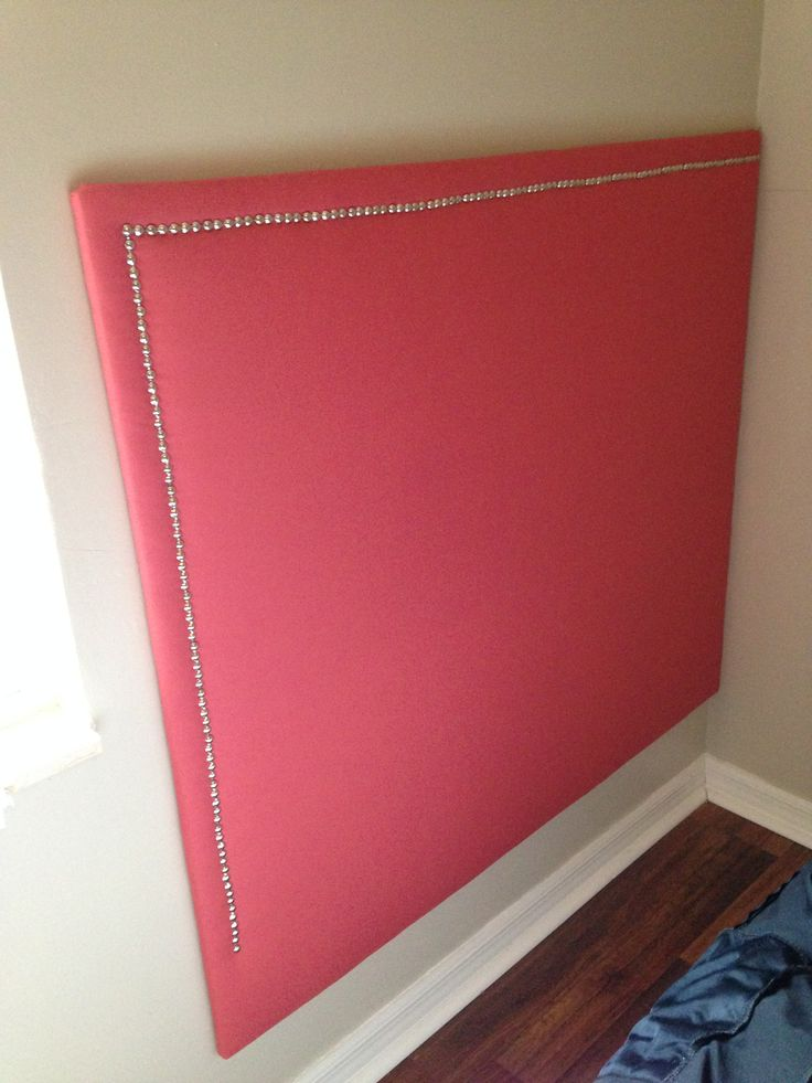 """Built a corner headboard.  Used 1/4 inch plywood rather than 3/4 inch that we used when making the King size.  I was going to put """"feet"""" on it but because of the baseboard, it was too far from the wall.  (3/4 inch worked fine when we did that).  We came up with the idea of hanging like a picture instead"""