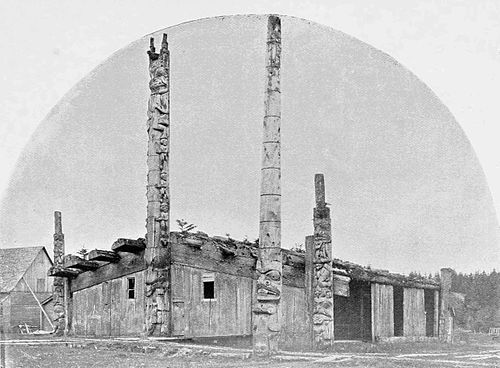 """Ancient house of Chief Weha [Weah or Wiah] in Masset from """"A Cruise Among Haida and Tlingit Villages About Dixon's Entrance by George Amos Dorsey. Photos by E.P. Allen."""