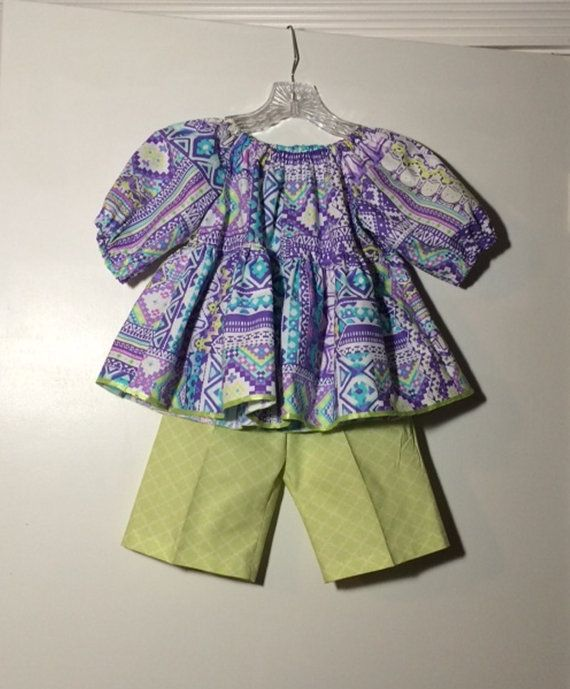 Girls Peasant Top and Shorts Outfit / Toddler by LulasBabyBoutique