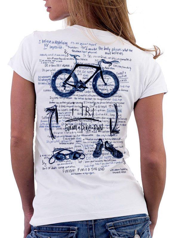 """""""I-Tri"""" - original hand drawn triathlon tee design from Cycology. www.cycologygear.com #triathlon, #t-shirts, #Cycology"""