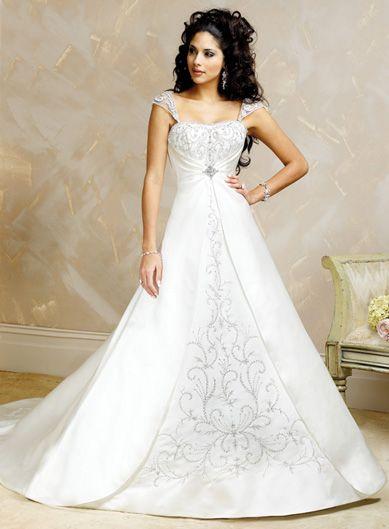 Princess A-line Cap Sleeve Satin Wedding Dresses: Dresses Wedding, Wedding Dressses, Ball Gowns, Princesses Wedding Dresses, Cap Sleeves, Weddings, Chapel Training, The Dresses, Satin Wedding Dresses