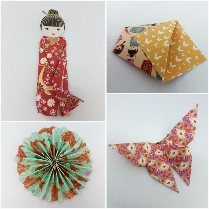 Origami folded paper using Craftwork Cards Kimono Collection by Mary Gillingham