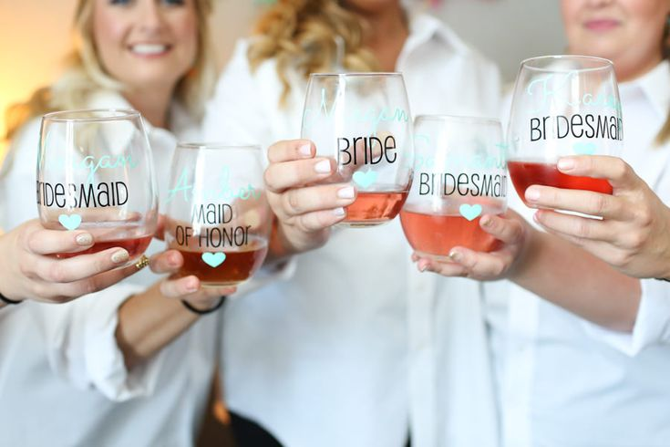 Wedding Day Bridesmaids Getting Ready Portrait with Custom Wine Glasses and Button Down Shirts