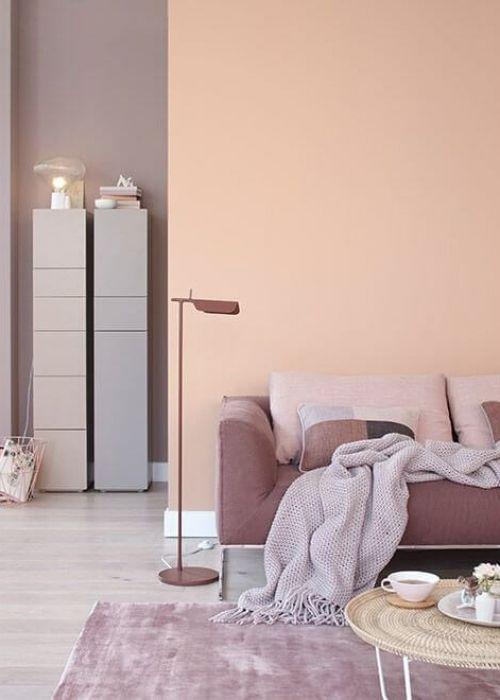 Wandgestaltung Fabrkombinationen Farbtrends Apricot Braun Decohome De Wandfarbe Wohnzimmer Wohnen Wohnzimmer Gestalten