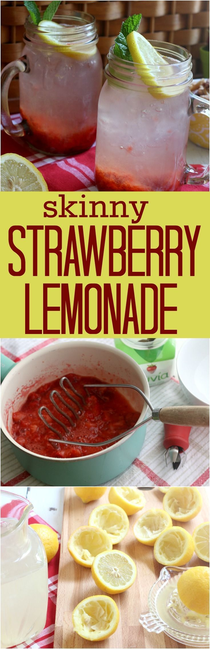 Enjoy this refreshing Strawberry Lemonade without the sugar! Made with fresh strawberries and lemons, it's the perfect Summertime drink! #summerdrink #strawberrylemonade