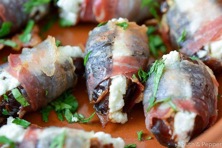 Dadels met zachte geitenkaas en pancetta