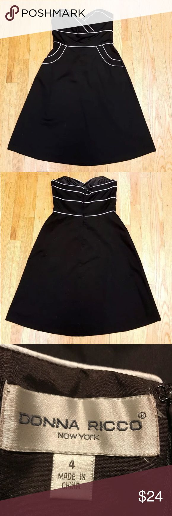 Donna Ricco Dress Strapless Brown Trimmed in White, 2 Pockets on the Front. Zips closed In The Back. 97% Polyester / 3% Spandex. Measures 17 inches across chest, armpit to armpit.  Waist is 14 inches.  Hips 20inches. Length from shoulder 32 inches. Donna Ricco Dresses Strapless