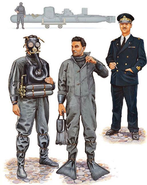 "Regia Marina - ""10th MAS Flotilla; Italy, 1941-42: • Manned torpedo crewman, 1941 • Frogman, Gamma group, 1942 • Tenente di vascello, service dress, 1940"", Mark Stacey"