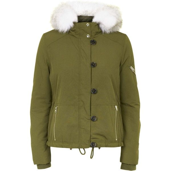 TOPSHOP Short Padded Parka Jacket ($130) ❤ liked on Polyvore featuring outerwear, jackets, khaki, green parka jacket, khaki jacket, short parka, parka jacket and green parka