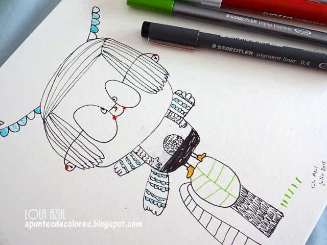 #RetoID día14 Copia de una ilustración de Christine Roussey. Lola Azul, Apuntes de colores
