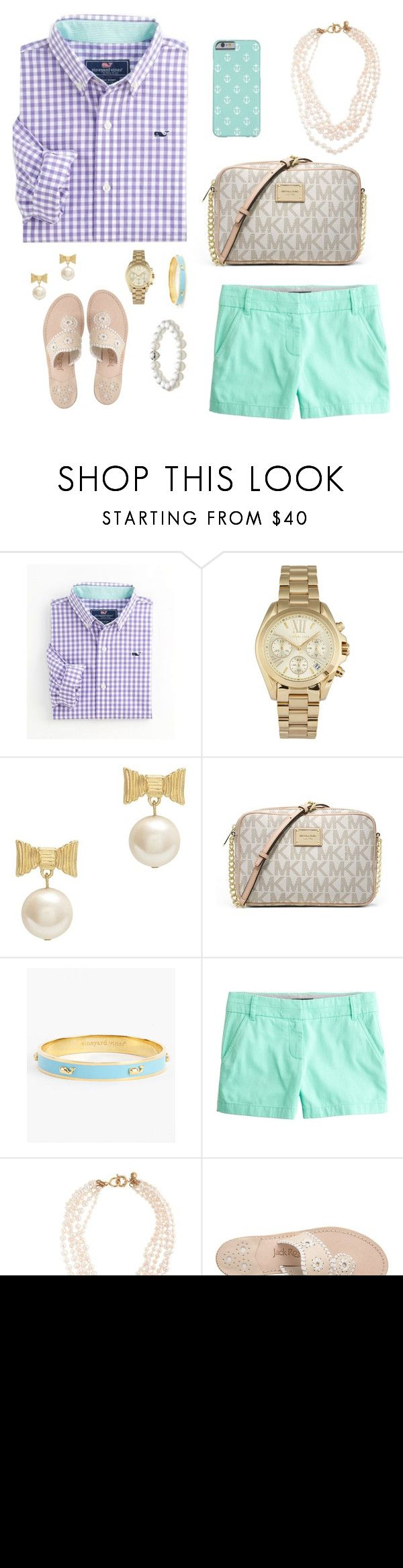 Preppy and classy✨ by prep29 ❤ liked on Polyvore featuring Vineyard Vines, Michael Kors, Kate Spade, MICHAEL Michael Kors, J.Crew, Jack Rogers and TARA Pearls